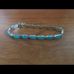 Blue fire opal sterling silver bracelet